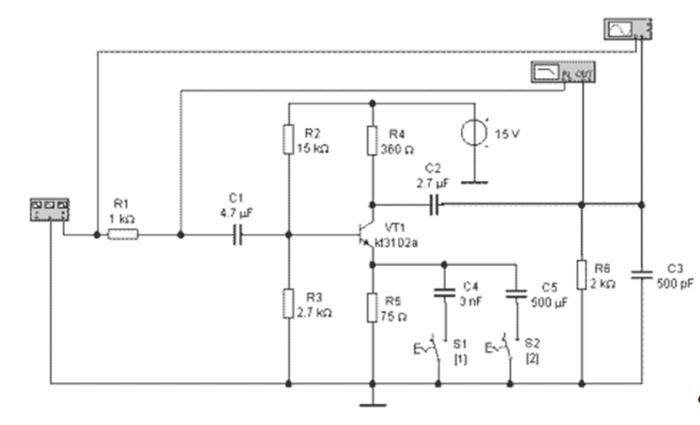 """Лабораторная работа № 1 """"Исследование резисторного каскада предварительного усиления на биполярном транзисторе"""" 2019 года"""