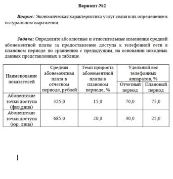 Экономика в отрасли инфокоммуникаций вариант 02